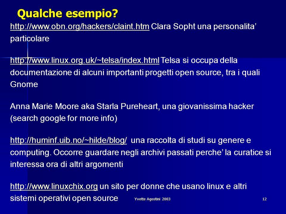 Qualche esempio http://www.obn.org/hackers/claint.htm Clara Sopht una personalita' particolare.