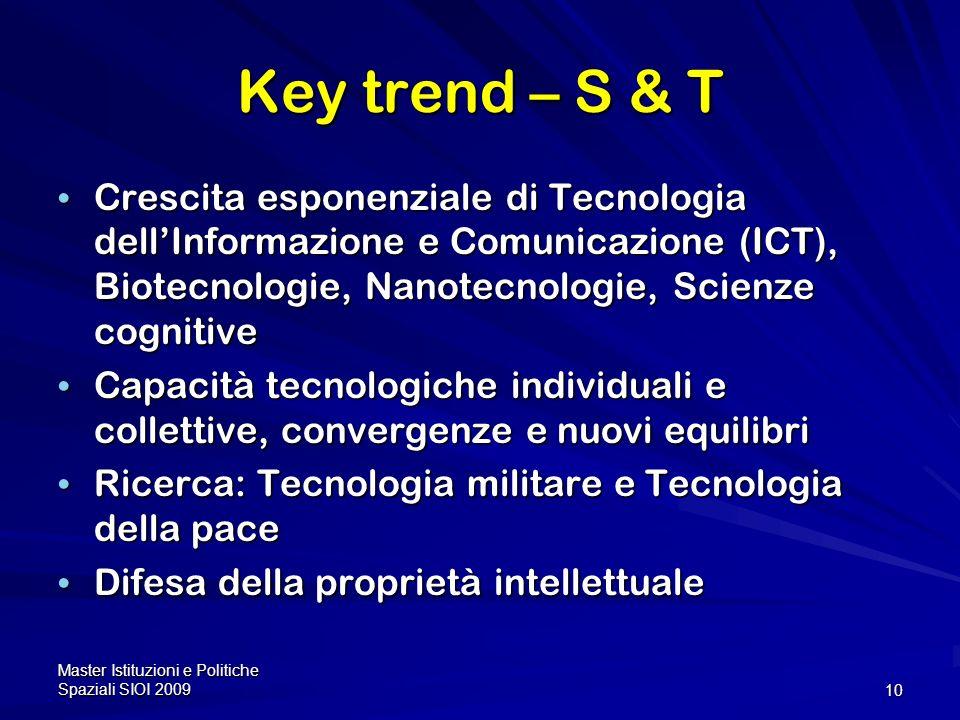 Key trend – S & T Crescita esponenziale di Tecnologia dell'Informazione e Comunicazione (ICT), Biotecnologie, Nanotecnologie, Scienze cognitive.