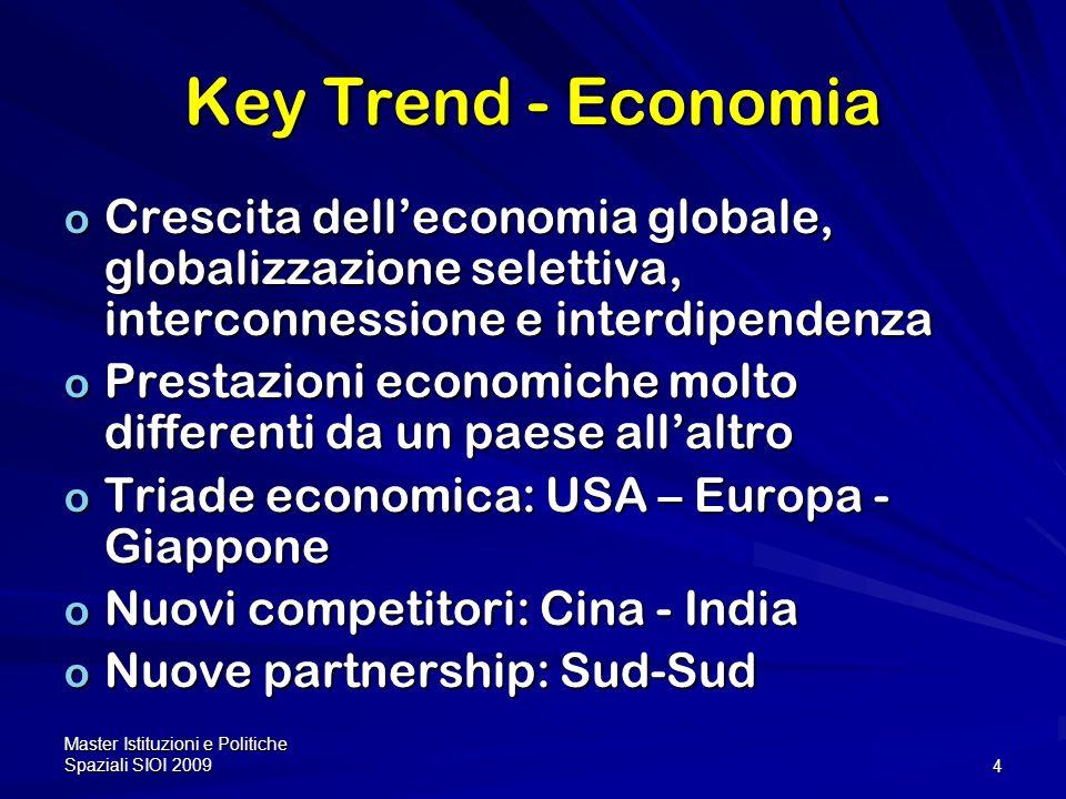 Key Trend - Economia Crescita dell'economia globale, globalizzazione selettiva, interconnessione e interdipendenza.