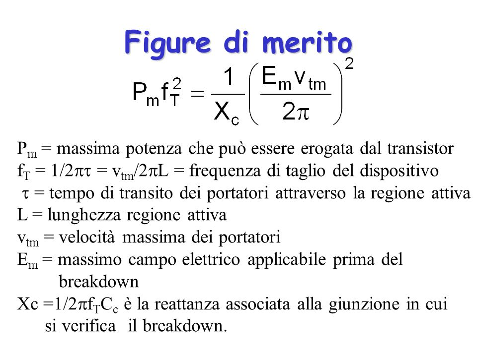 Figure di merito Pm = massima potenza che può essere erogata dal transistor fT = 1/2 = vtm/2L = frequenza di taglio del dispositivo.