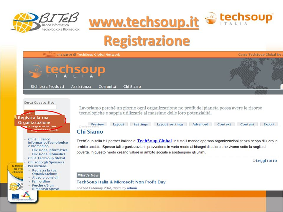 www.techsoup.it Registrazione