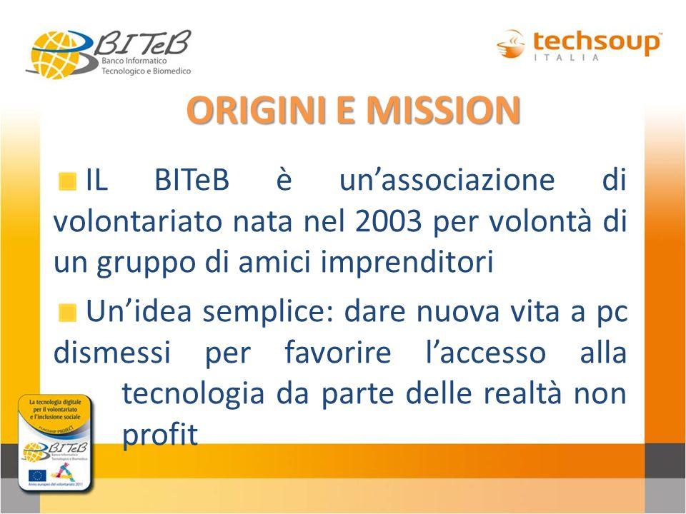 ORIGINI E MISSIONIL BITeB è un'associazione di volontariato nata nel 2003 per volontà di un gruppo di amici imprenditori.