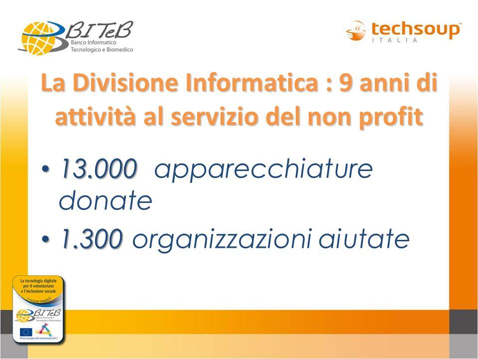 La Divisione Informatica : 9 anni di attività al servizio del non profit