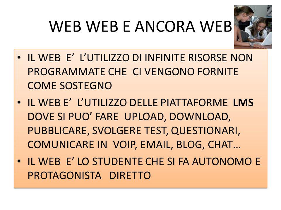 WEB WEB E ANCORA WEB IL WEB E' L'UTILIZZO DI INFINITE RISORSE NON PROGRAMMATE CHE CI VENGONO FORNITE COME SOSTEGNO.