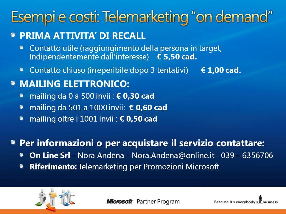 Esempi e costi: Telemarketing on demand