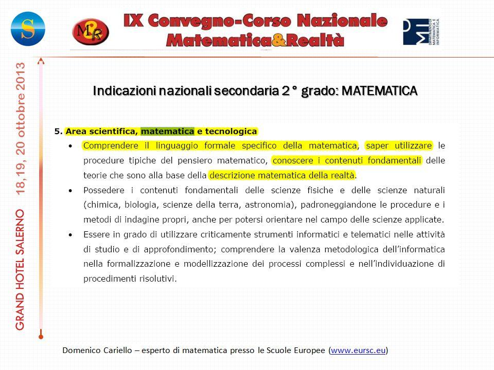 Indicazioni nazionali secondaria 2° grado: MATEMATICA