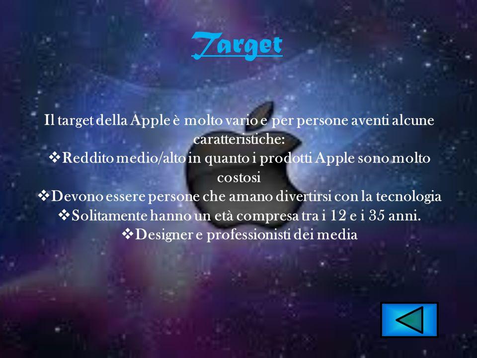 Target Il target della Apple è molto vario e per persone aventi alcune caratteristiche: