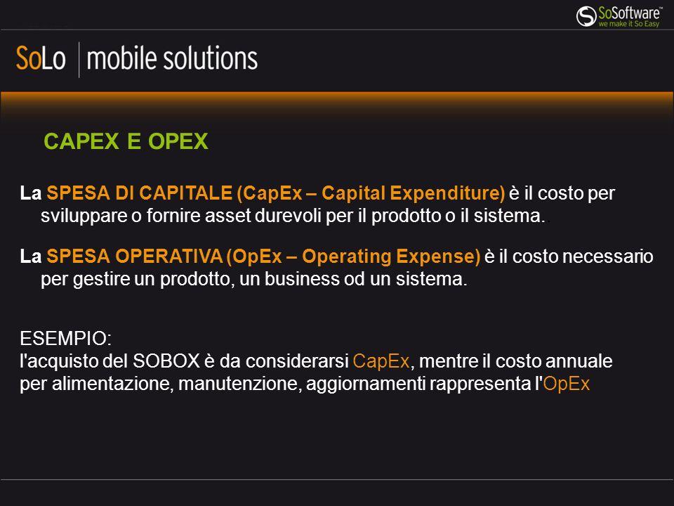 CAPEX E OPEX La SPESA DI CAPITALE (CapEx – Capital Expenditure) è il costo per sviluppare o fornire asset durevoli per il prodotto o il sistema..