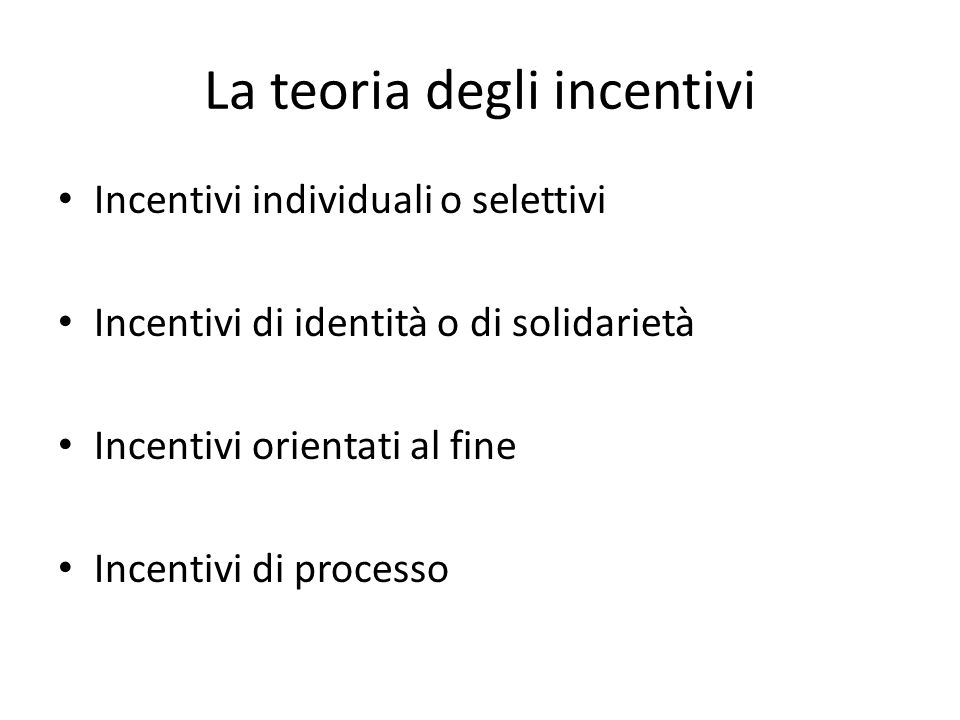 La teoria degli incentivi