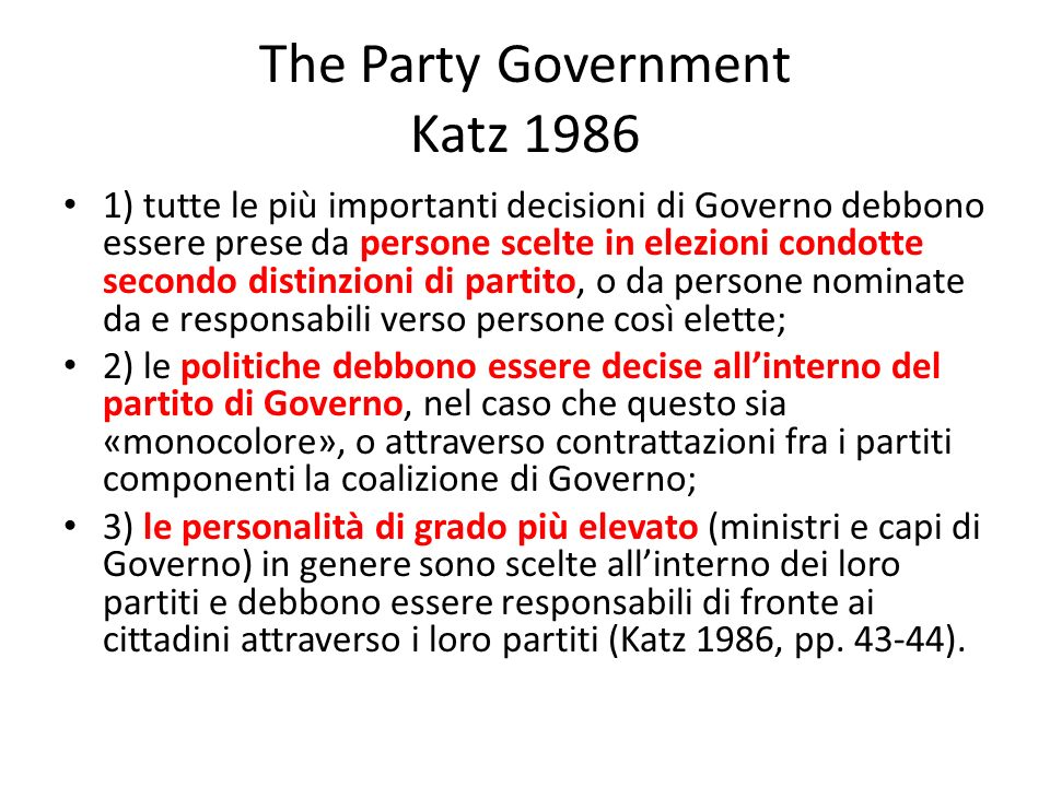 The Party Government Katz 1986
