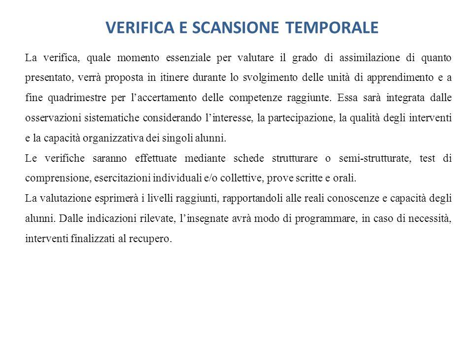 VERIFICA E SCANSIONE TEMPORALE