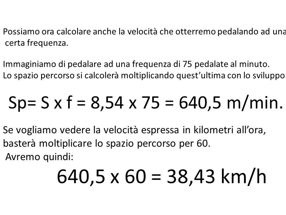 Possiamo ora calcolare anche la velocità che otterremo pedalando ad una certa frequenza. Immaginiamo di pedalare ad una frequenza di 75 pedalate al minuto. Lo spazio percorso si calcolerà moltiplicando quest'ultima con lo sviluppo: Sp= S x f = 8,54 x 75 = 640,5 m/min. Se vogliamo vedere la velocità espressa in kilometri all'ora,