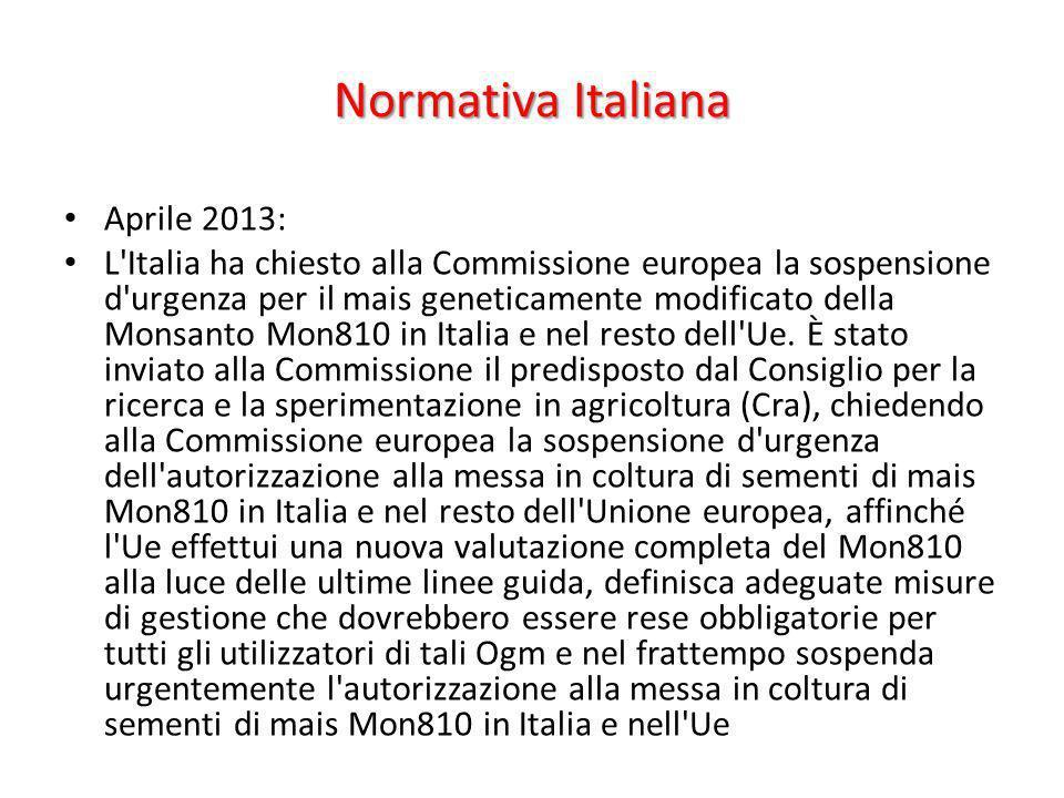 Normativa Italiana Aprile 2013: