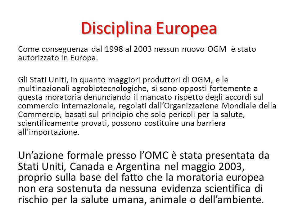 Disciplina Europea Come conseguenza dal 1998 al 2003 nessun nuovo OGM è stato autorizzato in Europa.