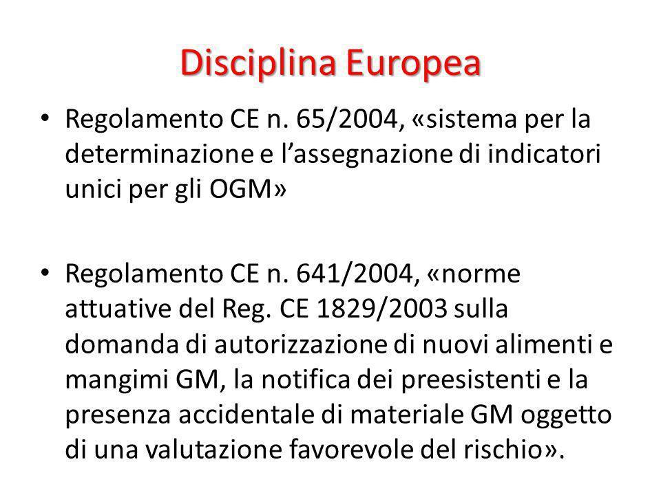 Disciplina EuropeaRegolamento CE n. 65/2004, «sistema per la determinazione e l'assegnazione di indicatori unici per gli OGM»