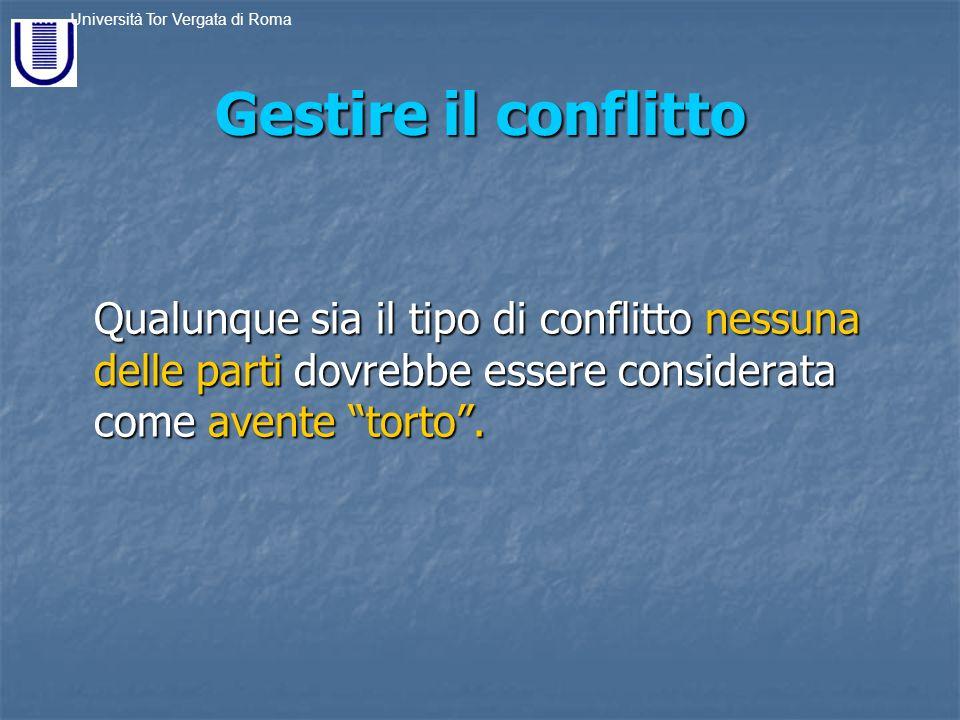 Gestire il conflitto Qualunque sia il tipo di conflitto nessuna delle parti dovrebbe essere considerata come avente torto .