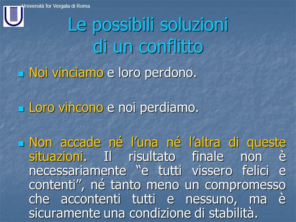 Le possibili soluzioni di un conflitto