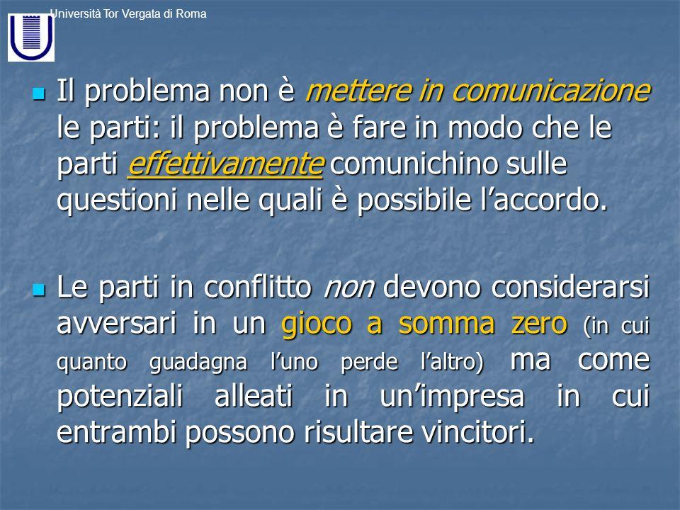 Il problema non è mettere in comunicazione le parti: il problema è fare in modo che le parti effettivamente comunichino sulle questioni nelle quali è possibile l'accordo.