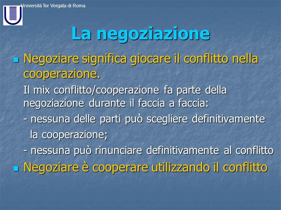 La negoziazione Negoziare significa giocare il conflitto nella cooperazione.