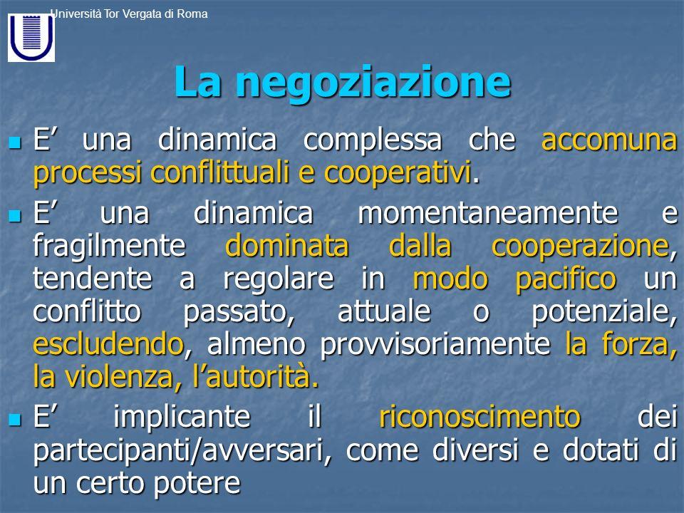La negoziazione E' una dinamica complessa che accomuna processi conflittuali e cooperativi.