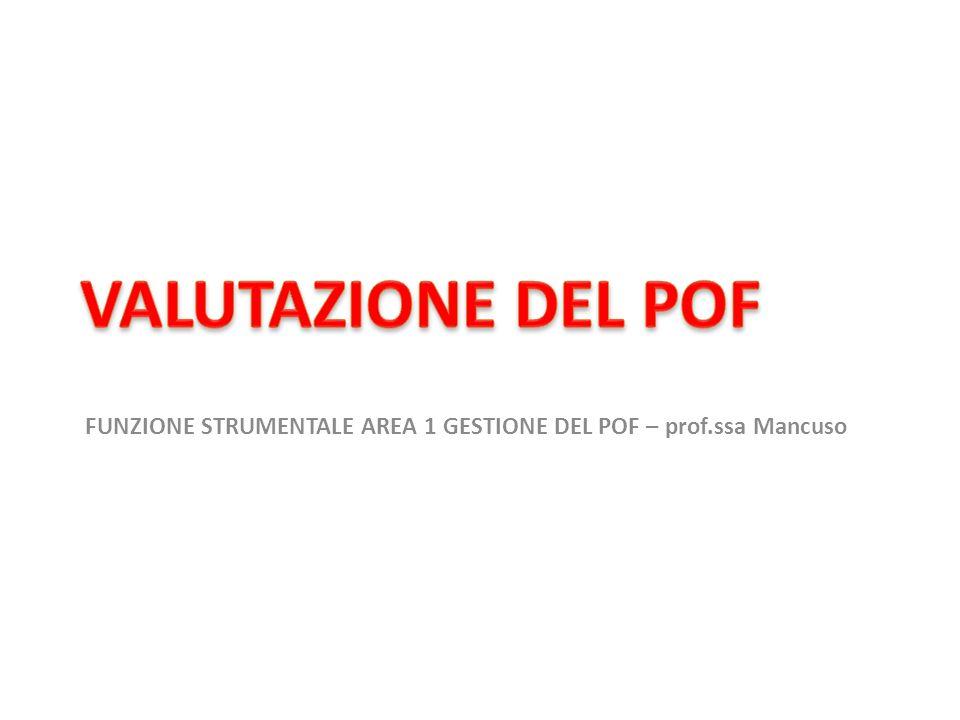 VALUTAZIONE DEL POF FUNZIONE STRUMENTALE AREA 1 GESTIONE DEL POF – prof.ssa Mancuso
