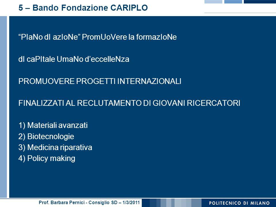 5 – Bando Fondazione CARIPLO