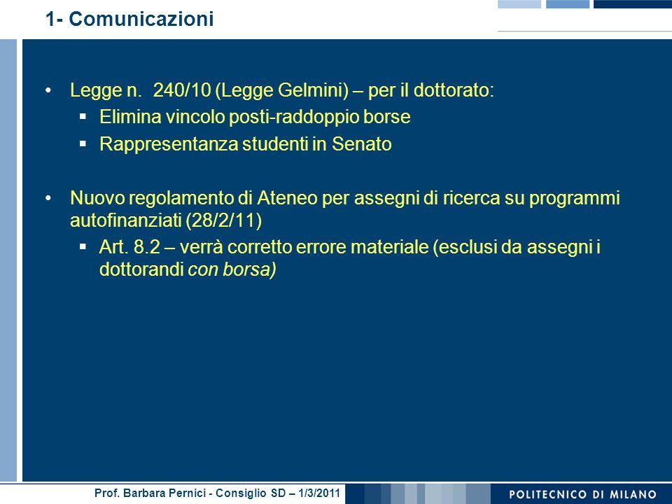 1- Comunicazioni Legge n. 240/10 (Legge Gelmini) – per il dottorato: