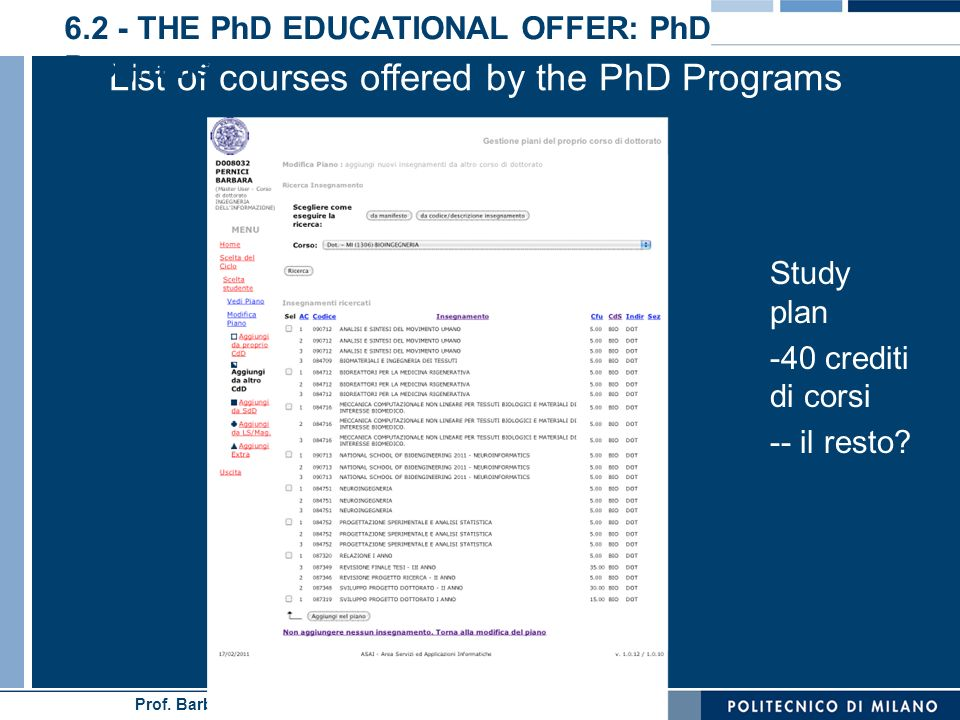 List of courses offered by the PhD Programs
