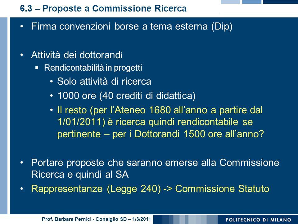 6.3 – Proposte a Commissione Ricerca