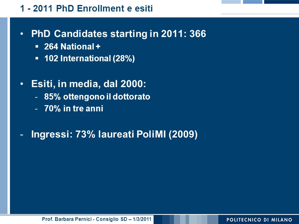 1 - 2011 PhD Enrollment e esiti