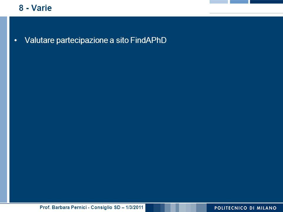 8 - Varie Valutare partecipazione a sito FindAPhD