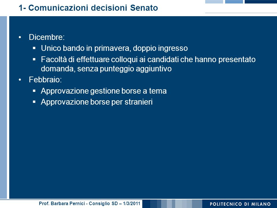 1- Comunicazioni decisioni Senato