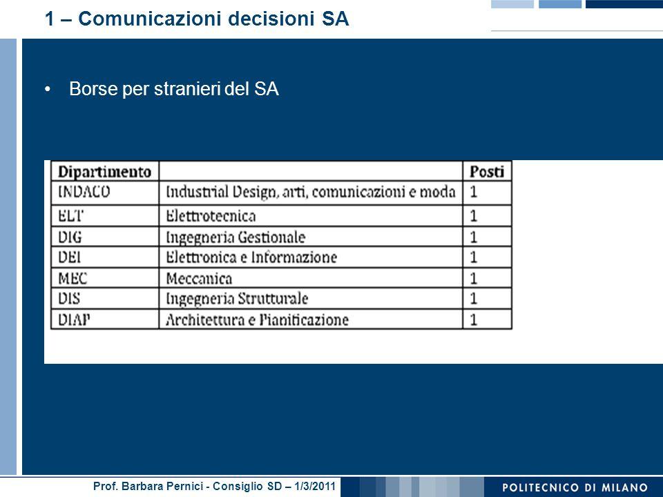 1 – Comunicazioni decisioni SA