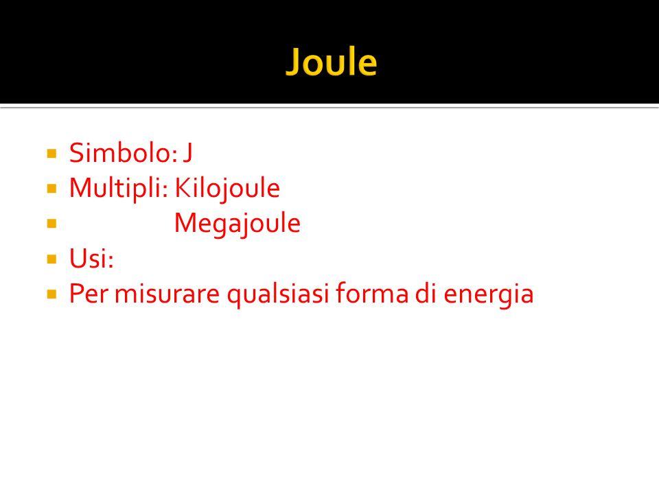 Joule Simbolo: J Multipli: Kilojoule Megajoule Usi: