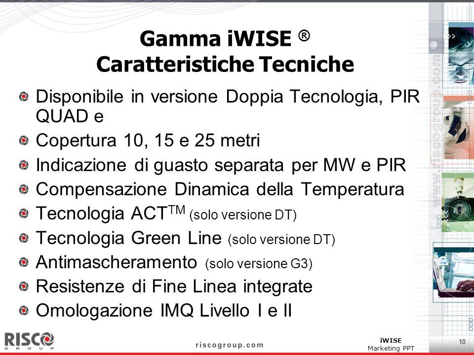 Gamma iWISE ® Caratteristiche Tecniche
