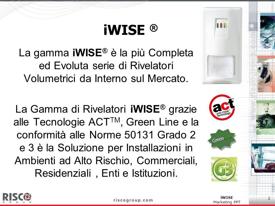 iWISE ® La gamma iWISE® è la più Completa ed Evoluta serie di Rivelatori Volumetrici da Interno sul Mercato.