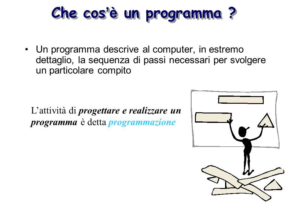 Che cos'è un programma Un programma descrive al computer, in estremo dettaglio, la sequenza di passi necessari per svolgere un particolare compito.