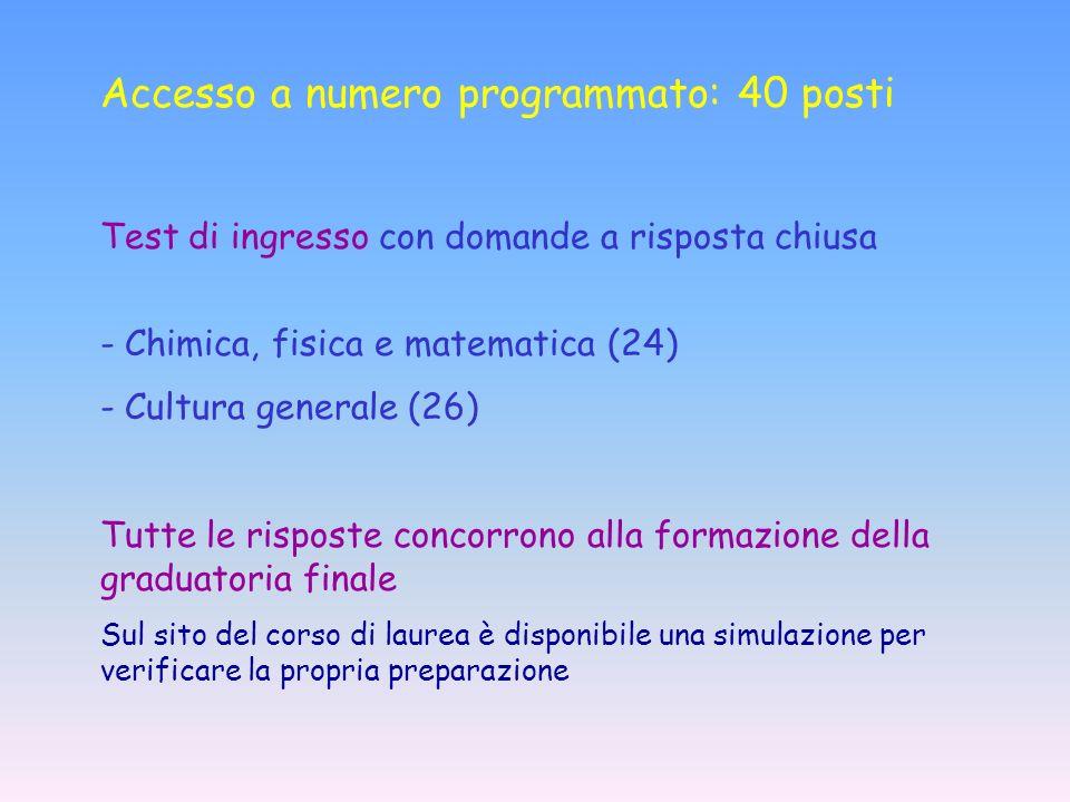 Accesso a numero programmato: 40 posti