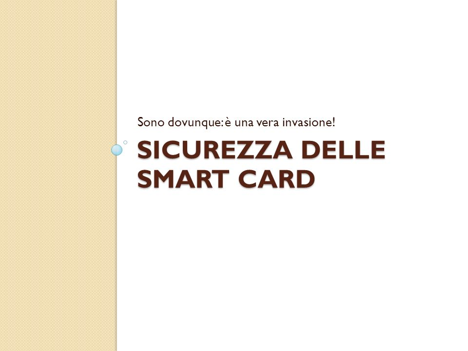 Sicurezza delle Smart Card