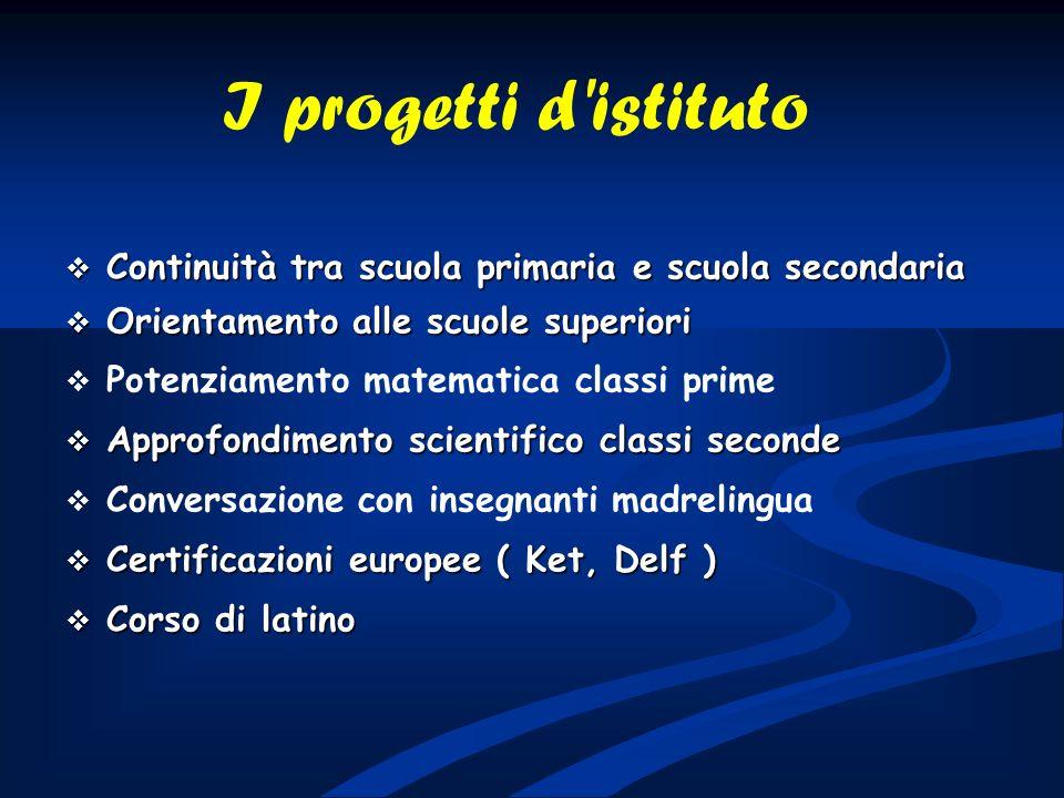 I progetti d istituto Continuità tra scuola primaria e scuola secondaria. Orientamento alle scuole superiori.