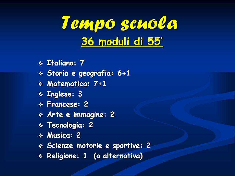 Tempo scuola 36 moduli di 55' Italiano: 7 Storia e geografia: 6+1