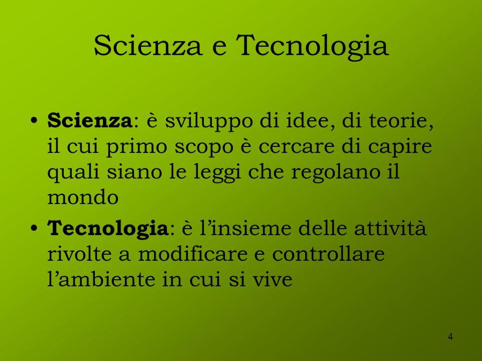 Scienza e TecnologiaScienza: è sviluppo di idee, di teorie, il cui primo scopo è cercare di capire quali siano le leggi che regolano il mondo.