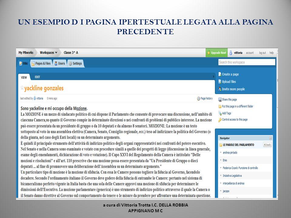 UN ESEMPIO D I PAGINA IPERTESTUALE LEGATA ALLA PAGINA PRECEDENTE
