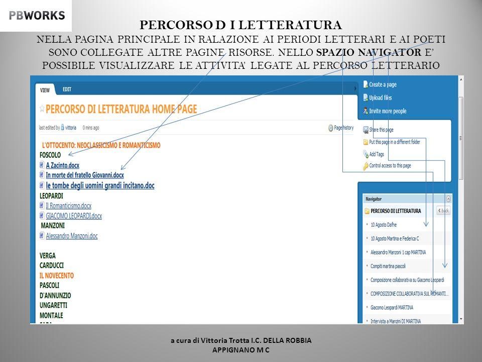 a cura di Vittoria Trotta I.C. DELLA ROBBIA APPIGNANO M C