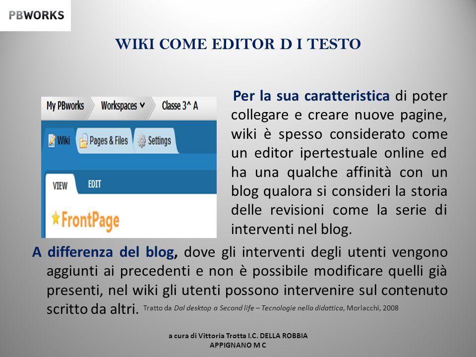 WIKI COME EDITOR D I TESTO