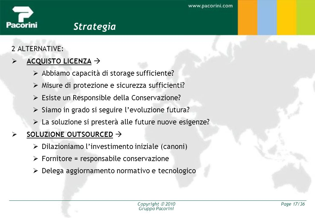 Strategia 2 ALTERNATIVE: ACQUISTO LICENZA 