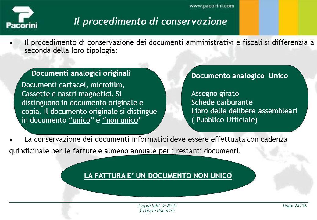 Il procedimento di conservazione