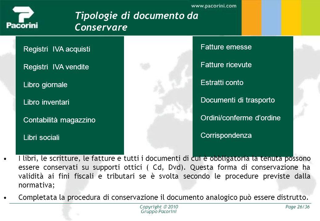 Tipologie di documento da Conservare