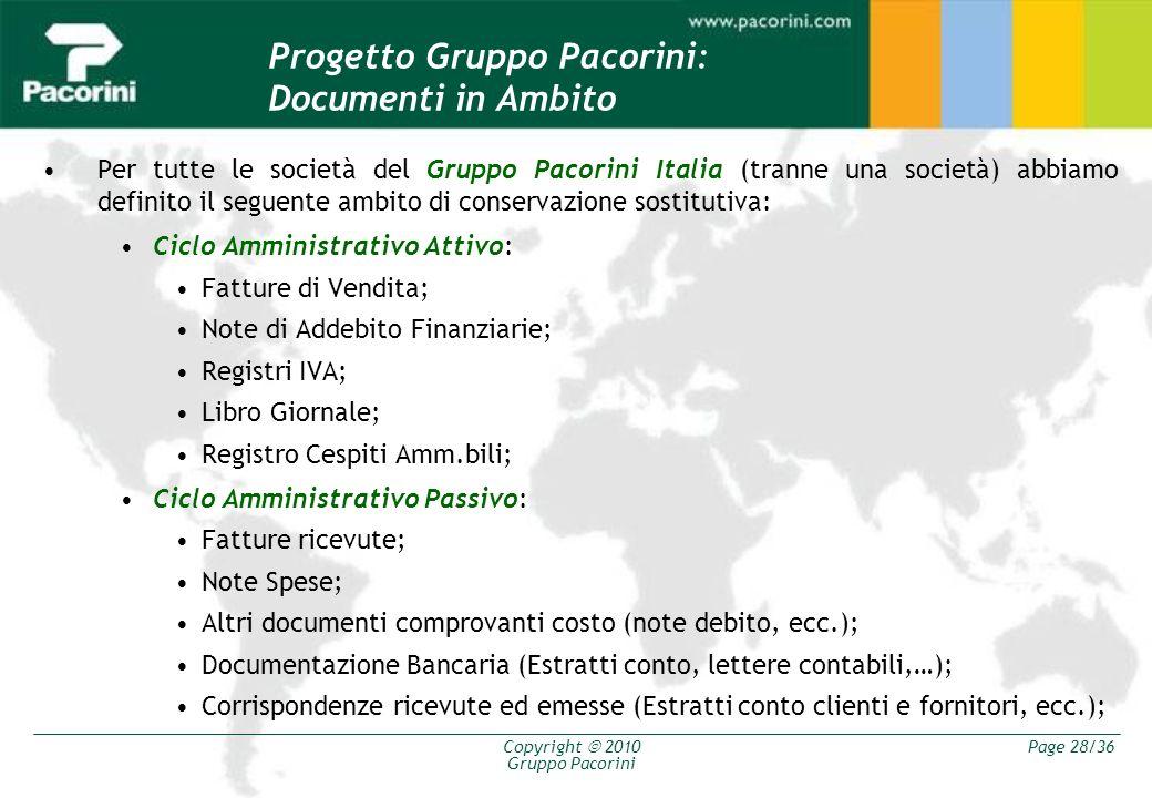 Progetto Gruppo Pacorini: Documenti in Ambito