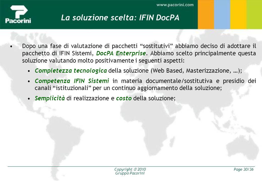 La soluzione scelta: IFIN DocPA